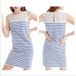 J. Crew White and Blue Eyelet Striped Dress